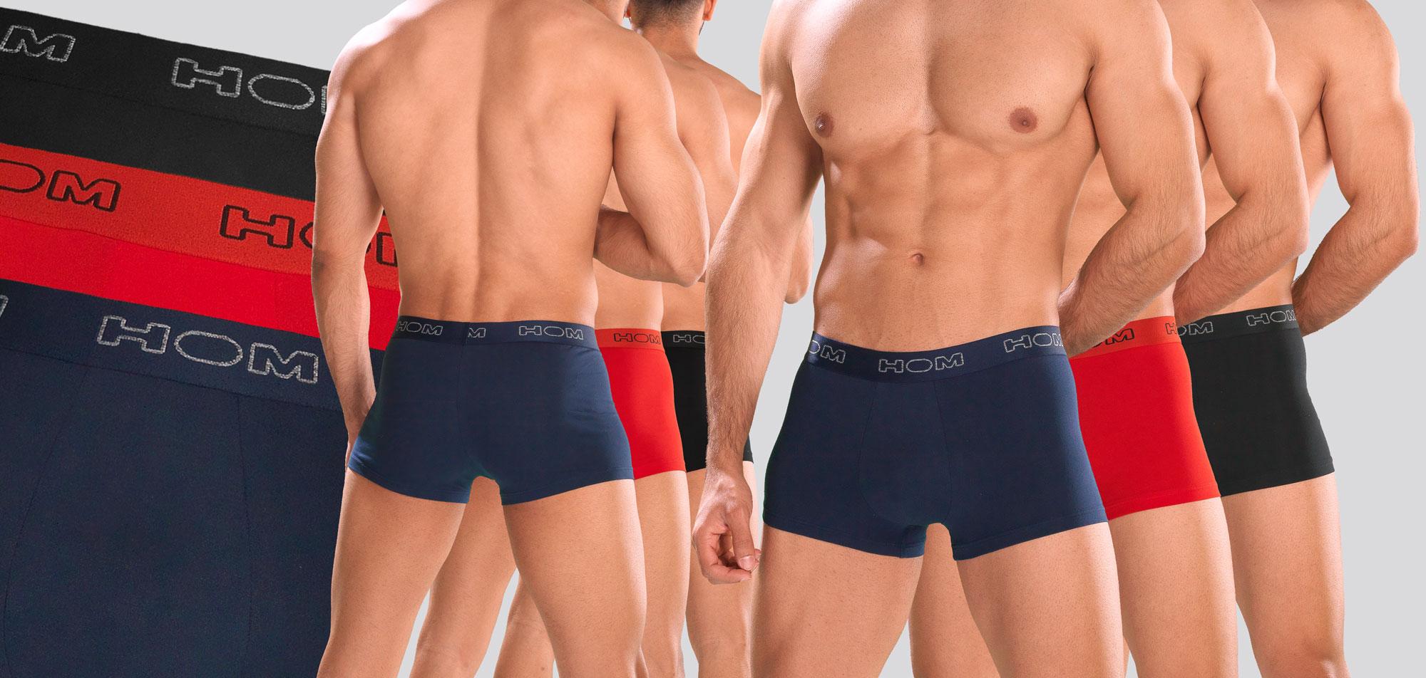 Hom Boxerlines Boxer Brief 3-Pack 387-Rood/Blauw/Zwart (984)-L